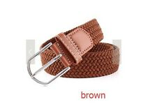 Mens Multicoloured Stretchy Braided Belt Solid Metal Buckle