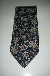 RALPH LAUREN 'CHAPS' 100% Blue Floral Silk Tie