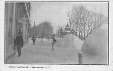 Mannsville New York~Snowbanks in Front Walter A Wood Machines~Shovel~1905 B&W PC