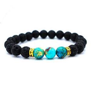 Lava Stone Beads Natural Stone Bracelet, Men Jewelry, Stretch Yoga Bracelet