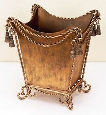 NEW FRENCH ROYAL TASSEL REGAL TWISTED IRON ROPE SWAG GOLD WASTE BASKET