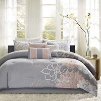 Lola Comforter Set Grey/Blush/Multi-Color New
