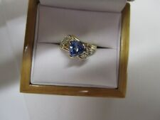 GORGEOUS ESTATE 14 KT GOLD 1.22 CTW TANZANITE AND DIAMOND RING  !!!!!!!