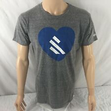 Burns McDonnell Vintage Charlie Hustle T-shirt Gray Tri Blend Large Rayon Heart