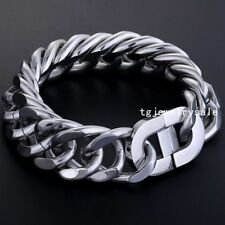 High Quality 22mm Mens Jewelry Silver Cool Heavy Curb Link Chain Bracelet 9""
