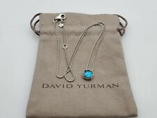 David Yurman Sterling Silver Chatelaine Pendant Necklace with Blue Topaz