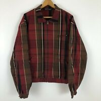 RARE Vintage polo ralph lauren Plaid Harrington Zip Up Jacket Size Large L Red