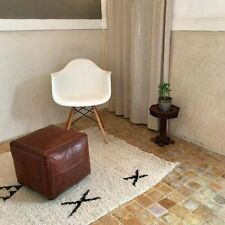 Authentic MOROCCAN SQUARE POUF Leather Pouf Ottoman Pouffe footst