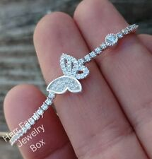 Solid 925 Sterling Silver Butterfly Charm CZ Tennis Bracelet Girl's Women's Gift