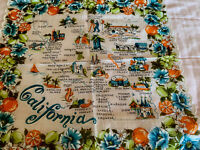 Vintage California State Map Souvenir Hankie, Cities & Parks with Floral & Fruit