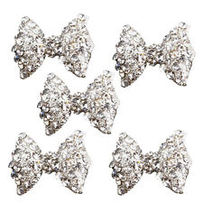 5Pcs 3D Silver Alloy Rhinestones Bow Tie Glitters Nail Art Slices DT
