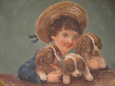 ANTIQUE AMERICAN FOLK ART FAMILY PUPPY TERRIER ? PUPPIES OIL PAINTING ON BRASS