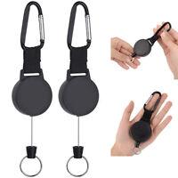 """2pcs Retractable Key Tool Reel Holder Steel Clip Chain Belt Heavy Duty Split 42"""""""