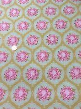 """Tilda Rosa Verde Mostaza Floral 100% tela de algodón acolchado Craft 56"""" de ancho"""