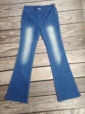 En Creme Denim Slim Fit Flared Leg Blue Jeans Leggings SMALL
