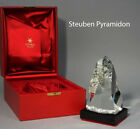 BIG NEW in RED BOX STEUBEN glass PYRAMIDON CRYSTAL prism art SCULPTURE with BASE