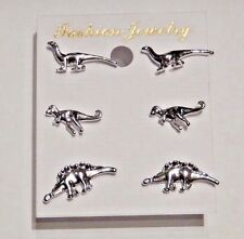 SET OF 3 PAIR SILVER DINOSAUR STUD EARRINGS tiny T-rex Stegosaurus Brontosaur S2
