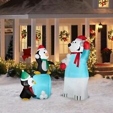 Christmas Gemmy Airblown Inflatable Snowball Fight 2 Pack Penguins & Polar Bear