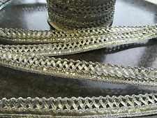 1M  SILVER BRAID LACE RIBBON TRIM WITH DIAMANTE 17MM WIDE