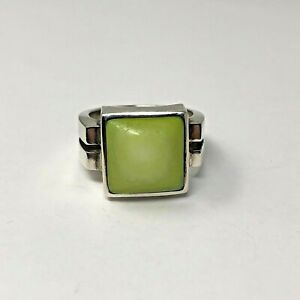 SILPADA Sterling 925 Green/Yellow Mother of Pearl Ring Sz 8.25 R1270 ref044