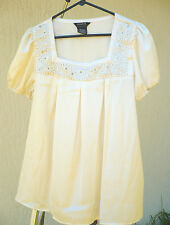 IVORY CREAM SILVER BEADED BABYDOLL EVENING SILKY BOHO BLOUSE WOMEN GEORGE SZ M L
