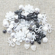 80 Mix Black/White/Silver Resin Flatbacks Craft Cardmaking Embellishments
