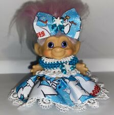 "Troll Doll Clothes for 2 1/2""-2 3/4"" Vintage Dam crochet -Frosty"