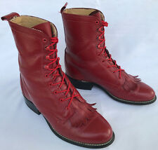 Laredo Red Kiltie 67195 Lace-Up Roper Fire Riding Rodeo Cowboy Boots Women's 7 M