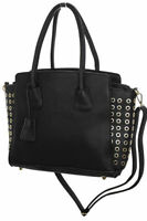 NEW (2512-1) Womens Faux Leather Shopper Bag With Gold Eyelets Black