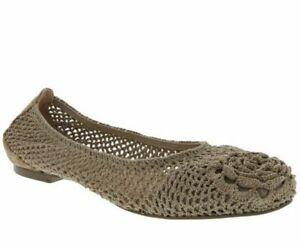 NIB Nina Originals Patricia Natural Crochet Stretch Flat Shoes Size 10M