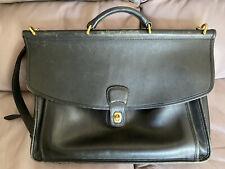 Vintage Authentic Coach Black Leather Briefcase Messenger Bag