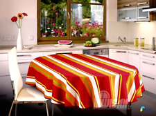 New   Tablecloth  Dining Room  Polyester and Cotton Red White Orange Stripes