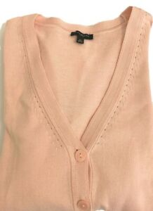 TALBOTS ~  PINK BUTTON UP COTTON BLEND CARDIGAN SWEATER ~ SIZE PS NEW