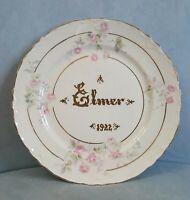 """Vintage 1922 Pope Gosser 8.25"""" Plate Gold ELMER Dated Scalloped Edge"""