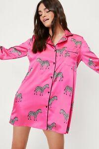 Nasty Gal BooHoo Fuschia Pink zebra Print Satin Nightie UK 8