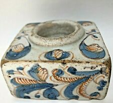 Antique Ceramic Inkwell Red White Blue Ink Well