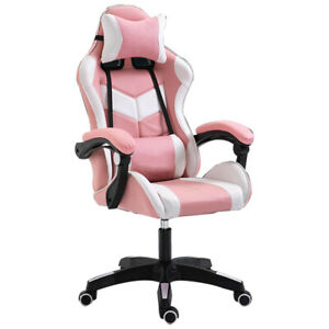 PC Gaming Chairs High Back Swivel Ergonomic Racing  Adjust Office Leather Pink