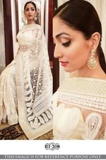 White Saree Sari Bollywood Replica Designer Indian Ethnic Work Women Party Wear