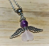 Amethyst Rose Quartz Angel Charm Stainless Chain My Heart Connect to the Divine