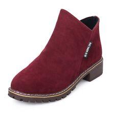 Womens Flat Low Heel Chelsea Boots Ladies Classic Suede Zipper Ankle Shoes Black