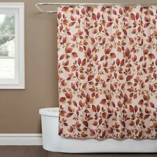 Saturday Knight Faithful Leaves Fabric Shower Curtain Nature Leaf Print NEW