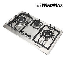 Windmax 28inch Stainless Steel 3 Burners Built-In Cooktop LPG NG Gas Hob Cooker