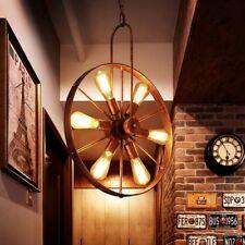 Rustic Wagon Copper Finish Wheel Chandelier Donut Metal Hardwired Bulbs, 6-Light