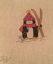 Handpainted Neddlepoint Canvas Pinguin With Skis