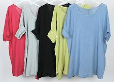 LADIES NEW ITALIAN QUIRKY LAGENLOOK PLAIN LINEN & COTTON COMFY CASUAL TUNIC TOP