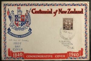 1940 Western Samoa Centennial New Zealand First Day FDC Cover To Excelsior Usa