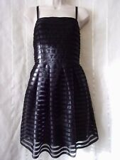 Ribbon Dress Size 10,H&M.Black.Stretch Straps.Gold Zip.Pleated Skirt.Lined.