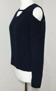 Ladies Cold-Shoulder Jumper Knit SELECT Navy Blue LACE BACK Keyhole Neck UK-14