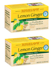 Bigelow Lemon Ginger Plus Probiotics Herbal Tea - 2 Boxes - 36 Tea Bags