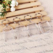 100pcs Clear Acrylic Blank Keyring Photo Insert Frame Keyrings DIY Key Ring AU